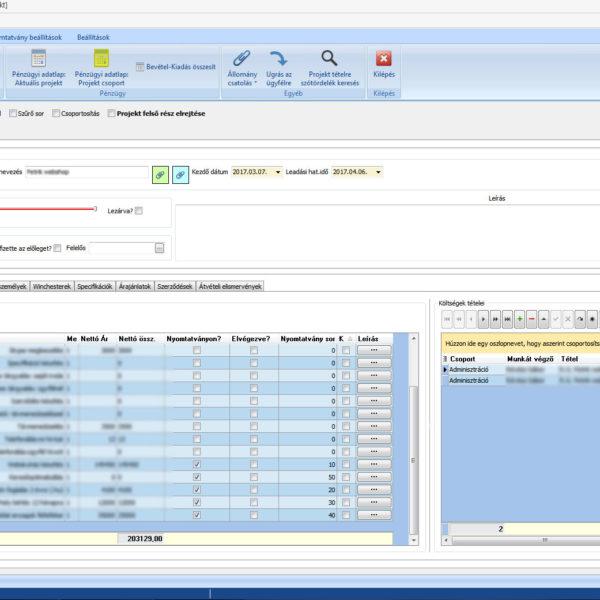 Projekt szoftver kiválasztott projekt ablak